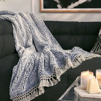 Amped Fleece Fringe Trim Throw Blanket | Urban Outfitters