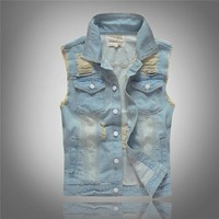 Trendy Grandwish Mens Denim Waistcoat Plus Size M-5XL Frayed Hole Jeans Vest Male Washed Men's Jeans Jacket Sleeveless Slim Fit ,DA606 AT_94_13