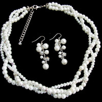 Bridal Enchanting Set White Pearls Bridal Twisted Necklace Set  Silver Rhinestons  Free Shipping In US