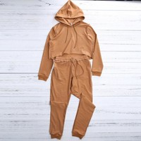 2PC Hooded Crop Top Tracksuit