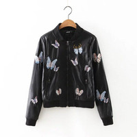 2016 Trending Fashion Leather Floral Printed Women Baseball  Sweater Cardigan Coat Jacket Outerwear _ 10010