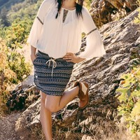Navy Tribal Mini Skirt