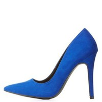 Cobalt Single Sole Pointed Toe Pumps by Charlotte Russe