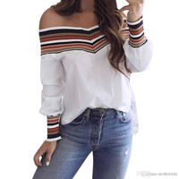 Women Autumn Casual Multicolor Long Sleeve Off Shoulder Top Blouse blusas mujer de moda Hot Sell