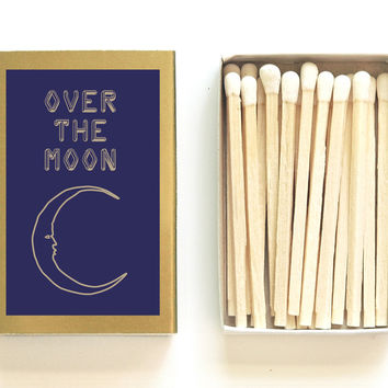 Over the Moon Matchbox - Starry Night Decor - Unique Gift - Wedding Matchboxes - My Moon and Stars - Stargazing - Light a Lunar Spark