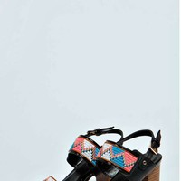 Bethan Embroidered Double Strap Block Heels