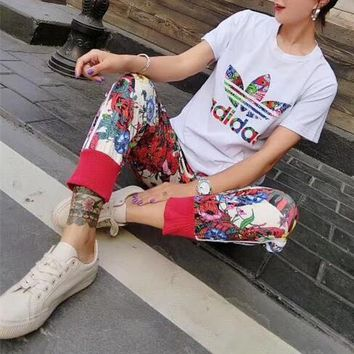 """Adidas"" Women Casual Fashion Multicolor Flower Print Short Sleeve Trousers Set Two-Piece Sportswear"