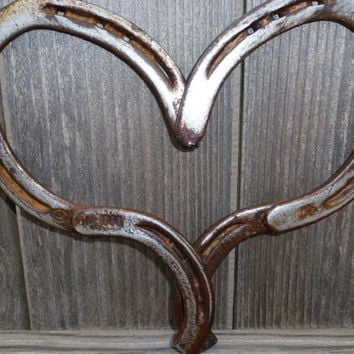Rustic Horseshoe Heart Decorative for home, porches, gardens, Great gift for horselovers, cowboys, cowgirls, Western decor, Valentine's gift