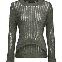 Olive Green Curved Front Rib Knitted Jumper