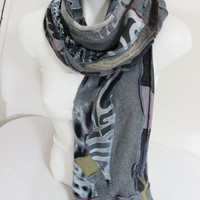 Grey black scarves, Handmade men's scarves, Scarf pattern, Men's Scarf, Unique Christmas Gifts, Design scarves, Winter scarf Unisex
