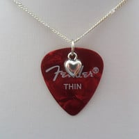 Fender Red guitar pick necklace with heart charm