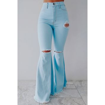 REORDER: Right For Me Bell Bottoms: Light Denim
