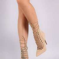 Shoe Republic LA Pointy Toe Lace-Up Strappy Pump