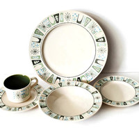 Taylor-Smith & Taylor Taylor Stone CATHAY Pattern Place Setting Mid Century Atomic Dinnerware - (#100.42)