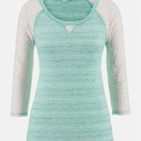 Lace Sleeve Contrast Stitch Spacedye Top - Mint Creme Combo