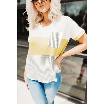 Blocked In Stripes Pocket Tee (Lime)