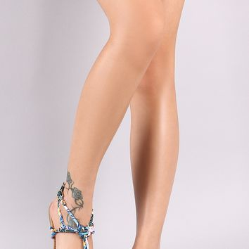 Qupid Knotted Strappy Tubular Flat Sandal