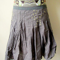 army green embroidered skirt