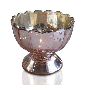 Suzanne Mercury Glass Chalice Candle Holder (Rose Gold Pink, Single) For Use with Tea Lights - For Home Decor, Parties and Wedding Decorations