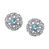Downton Abbey Jewellery Collection Silver Tone Aquamarine and Crystal Stud Earrings