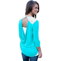 East Knitting CD113 Lace Stitching Back Hollow Out  T-shirt  Solid Color crew neck  Dovetail hem T-shirt