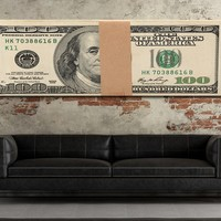 Money Stack Franklin Bills Canvas Wall Art Motivational Wall Decor