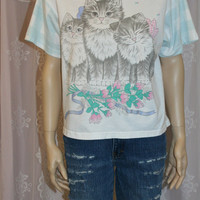 90s graphic tee kitty cat tshirt t shirt top plaid floral bows pastel goth grunge hipster oversize oversized slochy crop cropped S M 80s