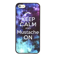 Keep Calm And Mustache ON Galaxy Case For iPhone 5 from Charming Galaxy