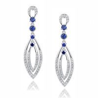 Double Marquise Shape W. Blue and Clear Cubic Zirconia Chandelier Earrings