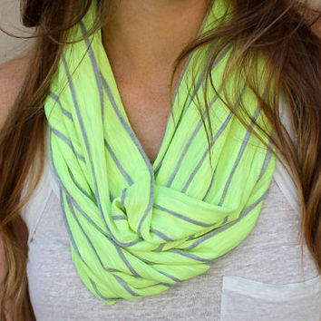Striped Cowl Scarf Neon Yellow Loop Scarf Neon by PoePoePurses