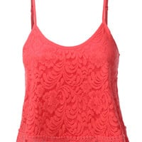 LE3NO Womens Loose Floral Crochet Scalloped Cropped Tank Top (CLEARANCE)