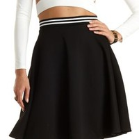 Textured Knit Skater Skirt with Striped Waistband