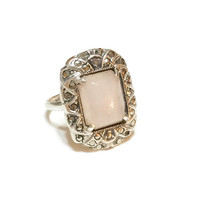 Art Deco Sterling Silver and Rose Quartz Ring, Marcasites, Gemstone Jewelry, Hallmarked, Antique Jewelry, Vintage Jewelry, 1930s