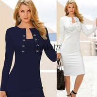 Womens Elegant Pinup Long Sleeve Tunic Cotton Stretch Business Work Party Cocktail Pencil Bodycon Sheath Dress 10 = 5710254593