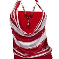 eVogues Plus size Red Glitter print Necklace accented O-ring strap top
