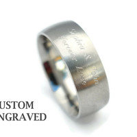 Wide Unisex Engraved Stainless Steel Brushed Steel Ring 8mm - Personalized Steel Ring - Double Line Engraved Ring - Personalized Steel Ring