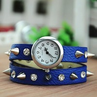 MagicPiece Handmade Vintage Style Leather Watch For Women Rivetand Rhinestone Belt in 5 Colors: Blue