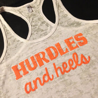 Workout Tank..HuRDLeS aNd HeeLs...Burnout Racerback Tank Top...SIZE SMALL