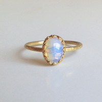 20% off- SALE!!! Gold Opalite Ring - Gemstone Ring - Tiny Simple Jewelry - Delicate Ring - Oval Ring - Rainbow Ring - Moonstone Ring
