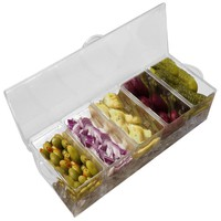 Evelots Chilled Condiment Server W/ 5 Compartments,Removable Containers,Ice Tray