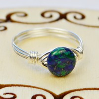 Tiny Azurite Gemstone Bead and Sterling Silver Wire Wrapped Ring- Custom made to size 4 -14
