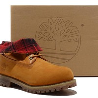 Timberland Genuine Leather Lapel Mens Boots Red Intense Yellow