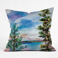 Ginette Fine Art Lake View Through The Trees Outdoor Throw Pillow