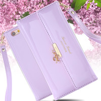 Fashion Mini Handbag Women Girl Lovers Leather Case Cover For Apple iPhone 6 6S 4.7inch Wallet With Strap Card Holder  Butterfly