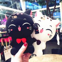 GIMFUN Kawaii 3D Cartoon Cat Silicone phone Case for iphone 8 8p 7 7plus 6 6s 6plus 5s soft tpu with pendant Black White  Cover