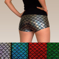 Shiny Colourful Mermaid Fish Scale Roller Derby Shorts