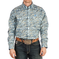 Men's Cinch Light Blue Paisley Print Buttondown Shirt