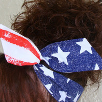 LARGE Dolly Bow, American Flag Stars and Strips Wire Headband Teen Womans 50s Flag Hair Bow