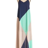 ModCloth Colorblocking Long Spaghetti Straps Maxi What Dreams are Swayed Of Dress