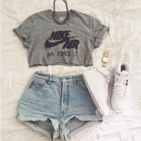 N grey Crop Shirt